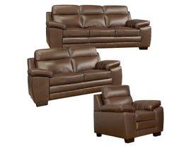 A&C Furniture Leather 3Pc Sofa Set in Saddle 1010