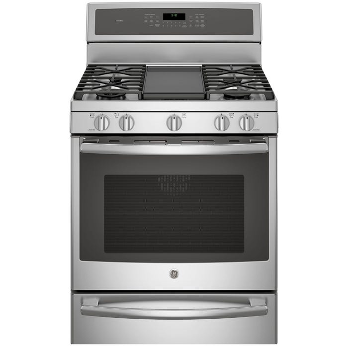 GE Profile 30 inch 5.6 cu.ft. Convection 5-Burner Free Standing Gas Range with Self Cleaning in stainless steel PCGB940ZEJSS