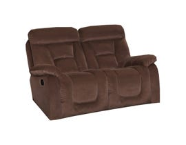 Soft fabric reclining loveseat in brown UPH2388