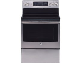 GE 30 inch 5.0 cu.ft. Free Standing Electric Convection Range with Self Cleaning in stainless steel JCB840SKSS