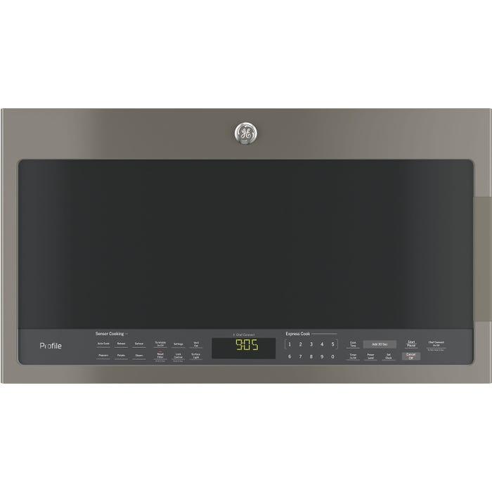GE Profile 30 inch 2.1 cu.ft. Spacemaker Over-the-Range Microwave Oven in slate PVM2188SLJC
