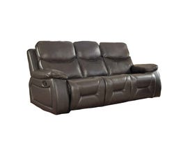 Beverly Leather Gel Reclining Sofa w/Drop Down Table in Chocolate Brown