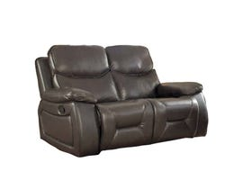 Beverly Leather Gel Reclining Loveseat in Chocolate Brown
