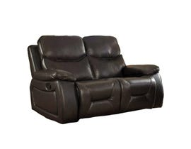 Beverly Leather Air Manual Reclining Loveseat in Chocolate Brown