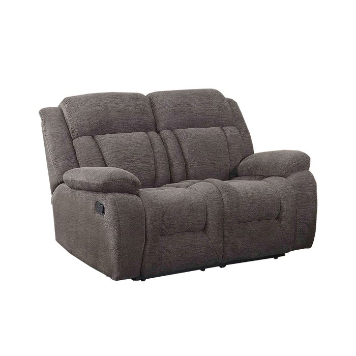 Primo International Dario Collection Corduroy Motion Reclining Loveseat in Charcoal