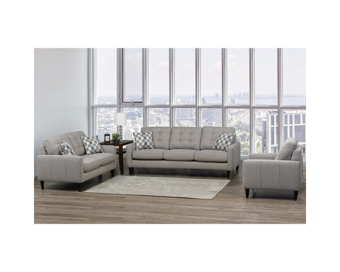 Sofa by Fancy Rebel 3-Piece Fabric Living room Set in Ash Grey 4326