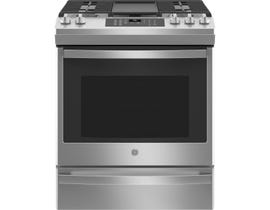 GE Appliances 30 inch 5.6 cu. ft. Slide-In Gas Range with No Preheat Air Fry in Stainless Steel JCGS760SPSS