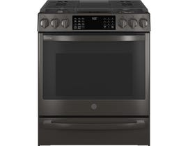 GE Profile 30 inch 5.6 cu. ft. Slide-In Convection Gas Range with No Preheat Air Fry in Slate PCGS930BPTS