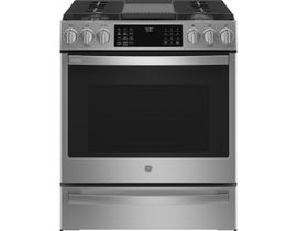 GE Profile 30 inch 5.6 cu. ft. True Convection Gas Range with Air Fry in Stainless Steel PCGS930YPFS