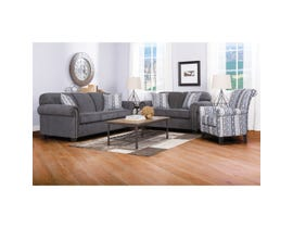 Decor-Rest Barbara Collection 3-Piece Fabric Sofa Set with Accent Chair in Graphite Grey 2756