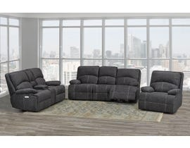 Brassex Houston 3-Piece Fabric Reclining Living Room Set in Grey SA2200
