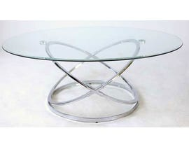 Standa chrome glass oval modern coffee table J355
