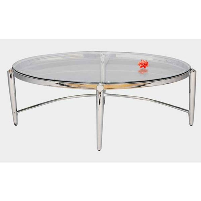 Standa chrome glass oval coffee table J557
