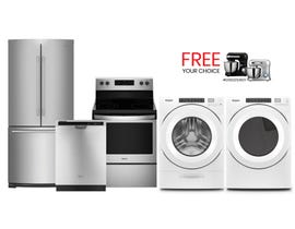 Whirlpool 5pc Appliances Bundle in Stainless/White 109769/092193/109770/911122