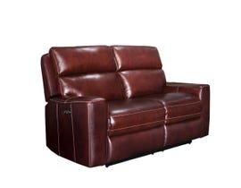 PR Furniture Archie Leather Reclining Power Motion Love seat in Milton Auburn