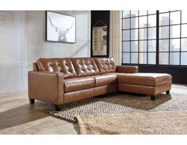 Signature Design by Ashley Baskove Series 2pc Leather RHF Corner Chaise Sectional in Auburn 11102-55-17