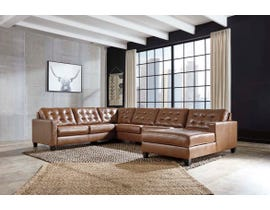 Signature Design by Ashley Baskove Series 4pc Leather RHF Sectional in Auburn 11102-55-34-77-17