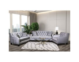 Sofa by Fancy 3-piece Fabric Tufted Living Room Set in Grey 2245