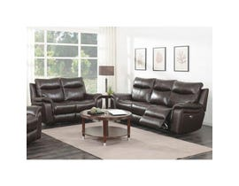 High Society Nova 2pc Leather Power Reclining Sofa Set in Brown UNAXX