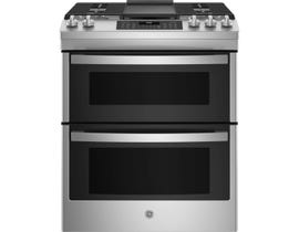 GE Appliances 30 inch 6.7 cu. ft. Slide-In Double Oven Gas Range in Stainless Steel JCGSS86SPSS