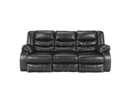 McMurry Leather Look Recliner Sofa w/Drop Down Table in Black MCMURRAY-BPU