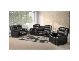 McMurry 3-Piece Leather Look Reclining Sofa Set in Black MCMURRAY-BPU