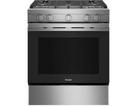 Haier 30 inch 5.7 cu. ft. Smart Slide In Convection Gas Range in Stainless Steel QCGSS740RNSS