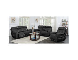High Society Stanford Collection 3 Piece Leather Motion Reclining Living Room Set in Black USF1314