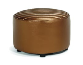 Korson Furniture Design Faux Leather Wrap Ottoman in Brass