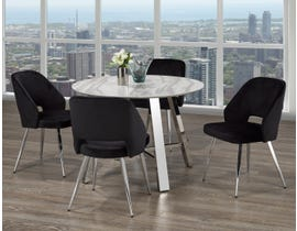 Brassex Mable 5-Piece Dining Set in White/Silver/Black 1172-5-BLK