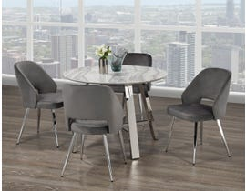 Brassex Mable 5-Piece Dining Set in White/Silver/Grey 1172-5-GR
