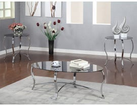 Chateau Chrome Metal Oval Coffee Table with Black Tempered Glass