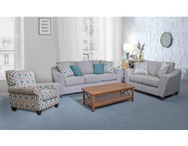 Flair Furniture 3pc Fabric Sofa Set with Accent Chair in Quartz Grey 1010