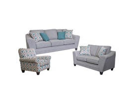 Flaca 3-Piece Sofa Set with Accent Chair in Quartz Grey 1010