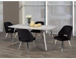 Brassex Ella 5-Piece Dining Set in White/Silver/Black 1194-5-BLK