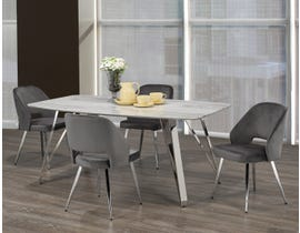 Brassex Ella 5-Piece Dining Set in White/Silver/Grey 1194-5-GR