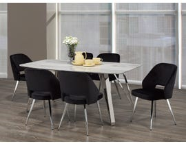 Brassex Ella 7-Piece Dining Set in White/Silver/Black F-1194