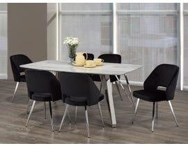 Brassex Ella 7pc Dining Set in White/Silver/Black F-1194
