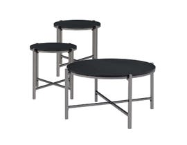 High Society Cybil Series 3-Piece Coffee Table Set in Merlot/Dark Nickle CCY100