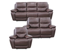 High Society Salvatore Series 3PC Leather Power Reclining Sofa Set in Walnut