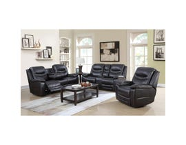 Brassex Nelson Power Leather Look Power Reclining Sofa Set in Black SA2400