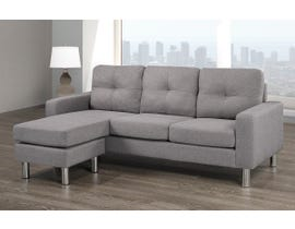 Brassex Fabric Sectional with Reversible Chaise in Light Grey 12029-GR