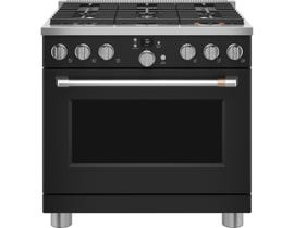 GE Cafe 36 inch Smart Commercial-Style Dual Fuel Range in Matte Black C2Y366P3TD1