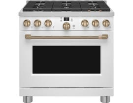 GE Cafe 36 inch Smart Commercial-Style Dual Fuel Range in Matte White C2Y366P4TW2