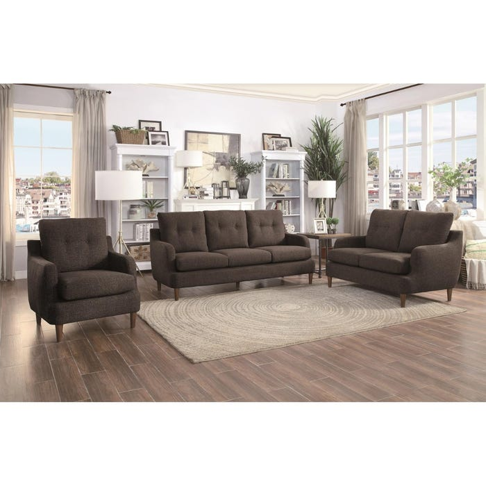 Homelegance Furniture 3 Piece Fabric Living Room Set In Brown 1219