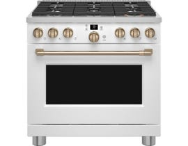 GE Cafe 36 inch Smart Commercial-Style Gas Range in Matte White CGY366P4TW2