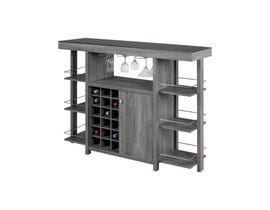 Brassex Black Glass Top Bar Dark Grey 12532-GR