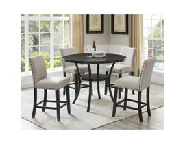 Brassex Avery 5-Piece Pub Dining Set with Beige Chairs in Walnut