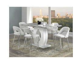 Brassex Walden 7-Piece Marble Pub Style Dining Set in F-895