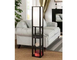 Brassex 3-Tier Floor Lamp with Storage Black 151312-BLK / 172233 BLK